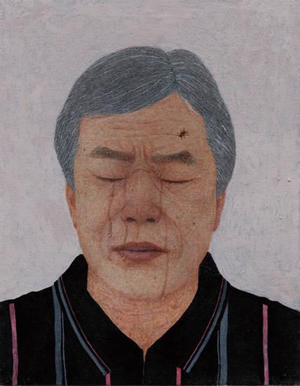 문성식, '사람. 눈물. 파리'. 캔버스에 아크릴. 41 x 32cm. 2015~2016. 사진 = 두산갤러리