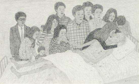 문성식, '작별'. 종이에 연필, 22.7 x 37cm. 2014. 사진 = 두산갤러리