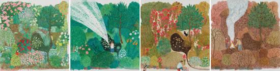 문성식, '봄, 여름, 가을, 겨울'. 종이에 과슈, 29.3 x 28.2cm. 2015. 사진 = 두산갤러리
