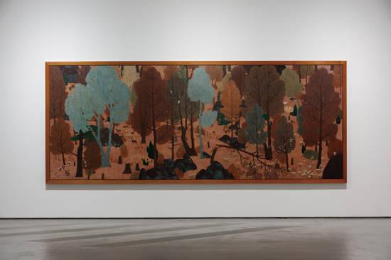 문성식, '숲의 내부'. 캔버스에 아크릴, 158.8 x 407cm. 2015~2016. 사진 = 두산갤러리