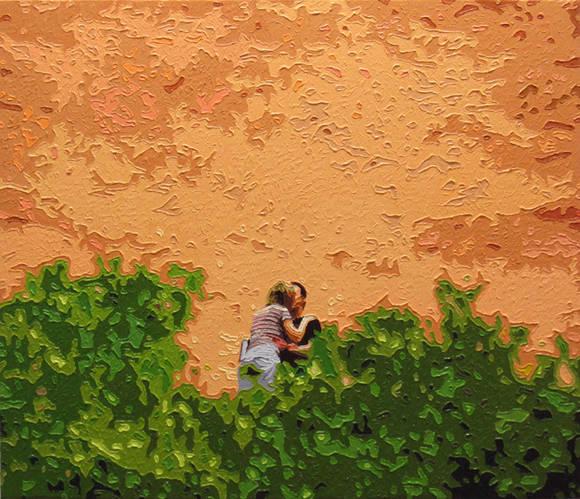 문호, 'The Lovers(연인들)'. 캔버스에 오일, 45.5 x 53cm. 2016.